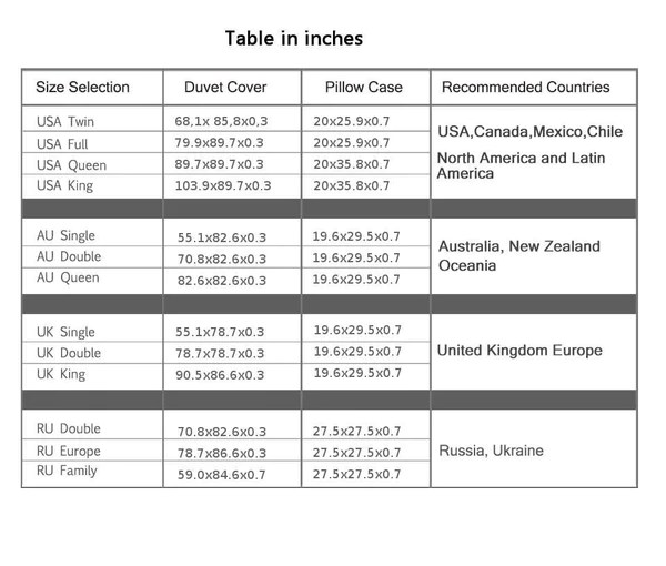 2 Bed Size Charts Inches And Cm