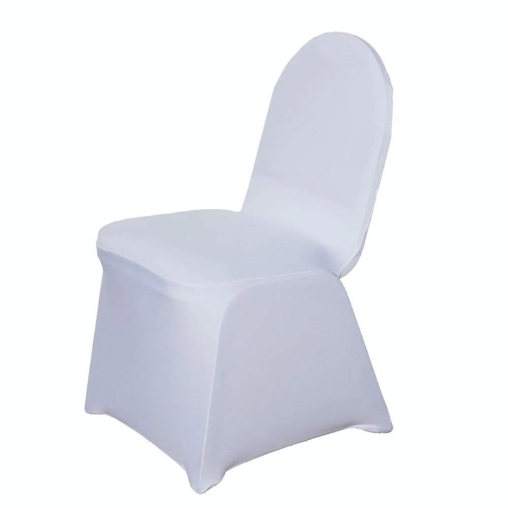 Chair Cover 160 Gsm White Stretch Spandex Banquet Chair Cover With Foot Pockets