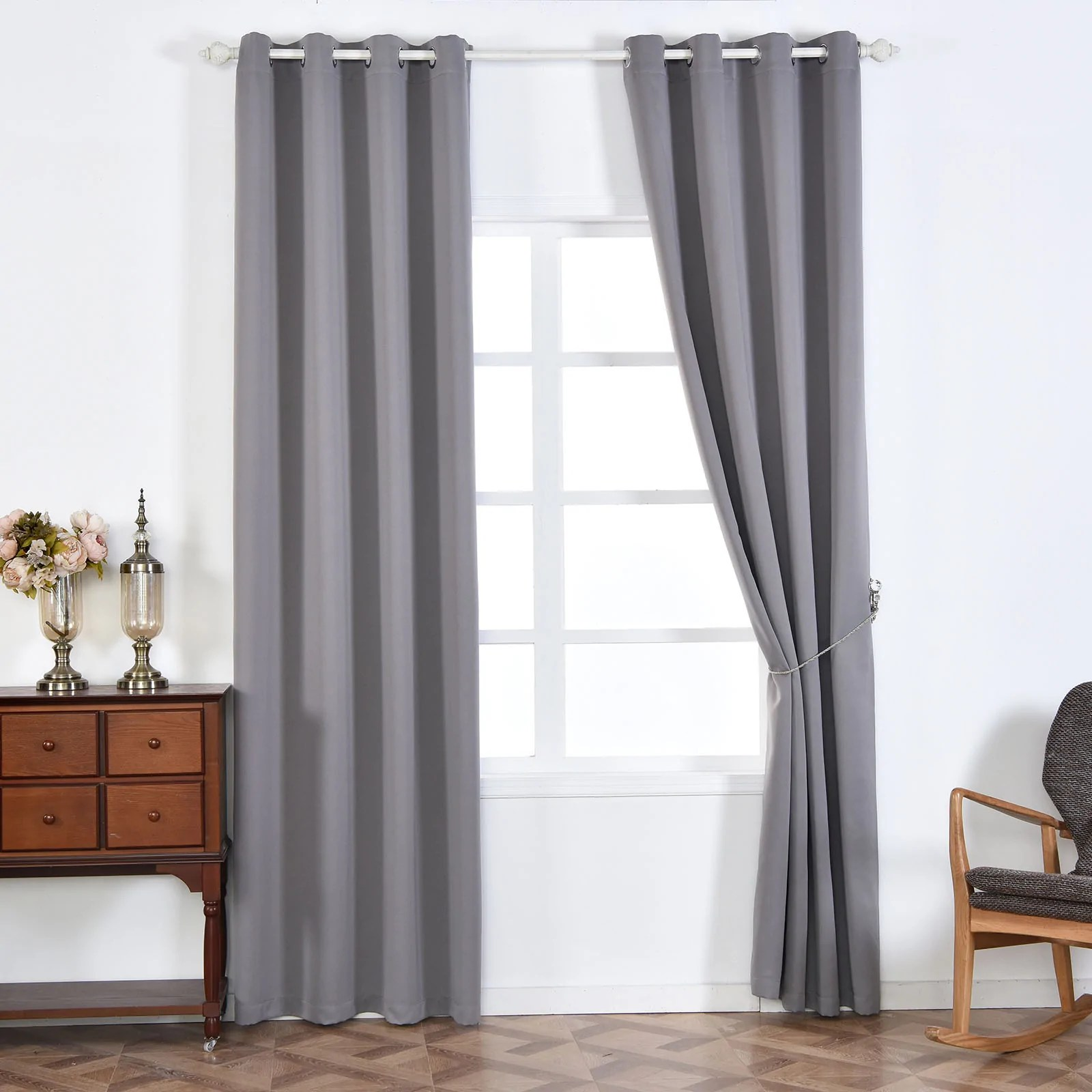 Grey Thermal Curtains 2 Pack 52