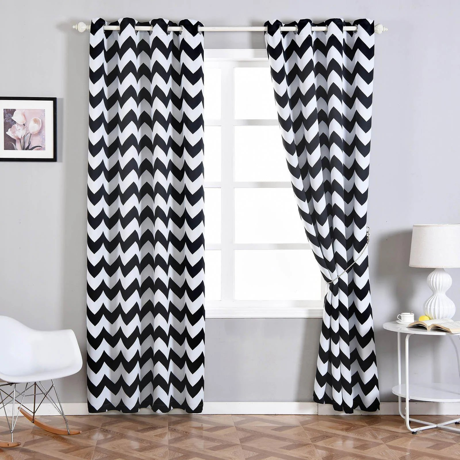 Black And White Chevron Blackout Curtains Chevron Blackout Curtains 2 Packs White Black Blackout Curtains 52 X 108 Inch Grommet Curtains Thermal Grommet Curtains