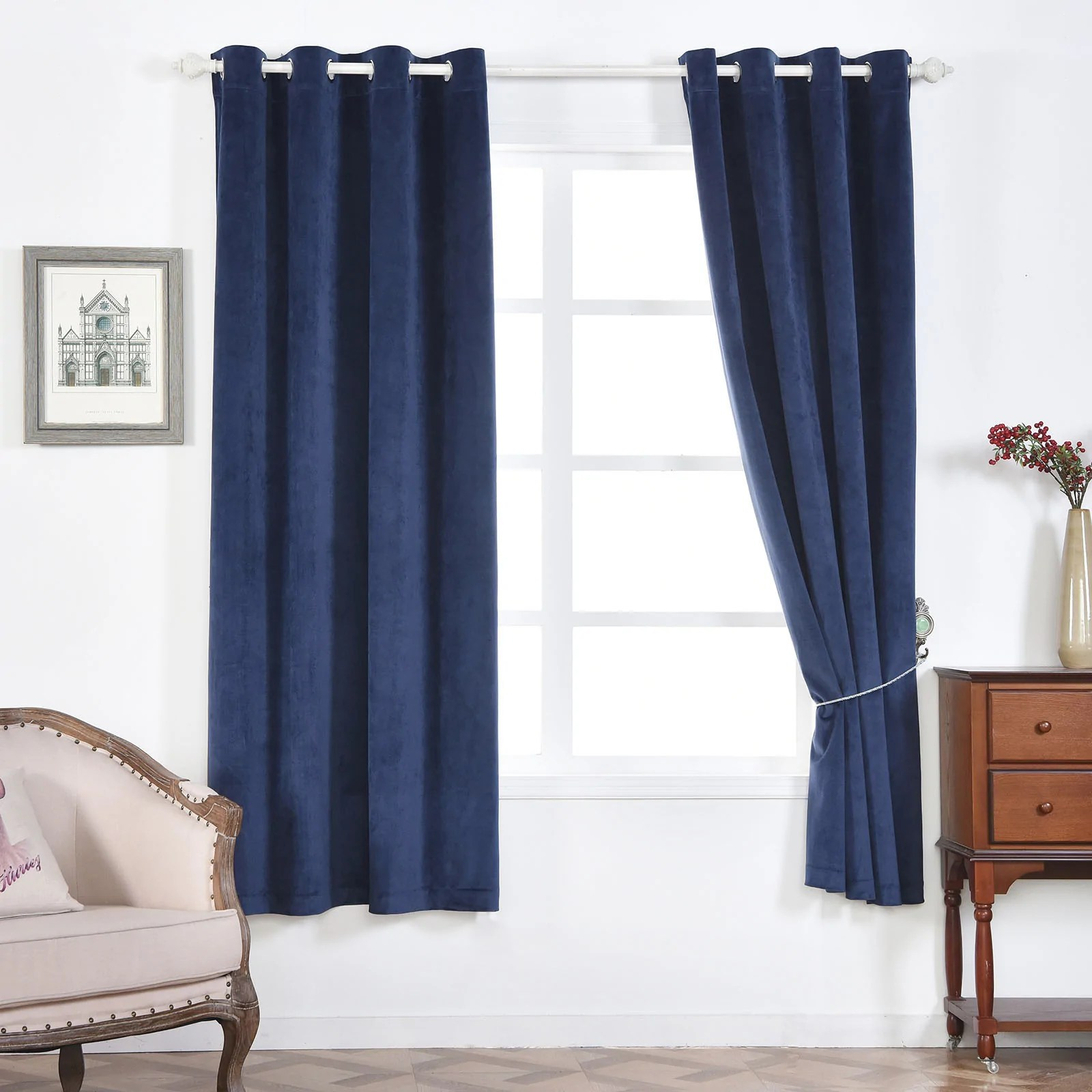 Heavy Thermal Curtains Navy Blue Blackout Curtains 2 Packs 52 X 64 Inch Length