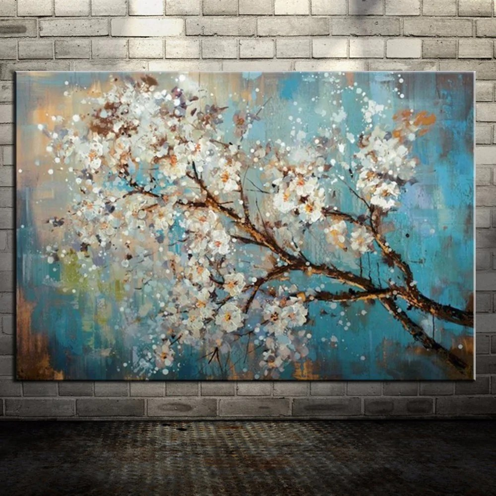 Art Wall Handpainted Flowers Tree Abstract Morden Oil Painting On Canvas Wall Art Wall Pictures For Live Room Home Decor