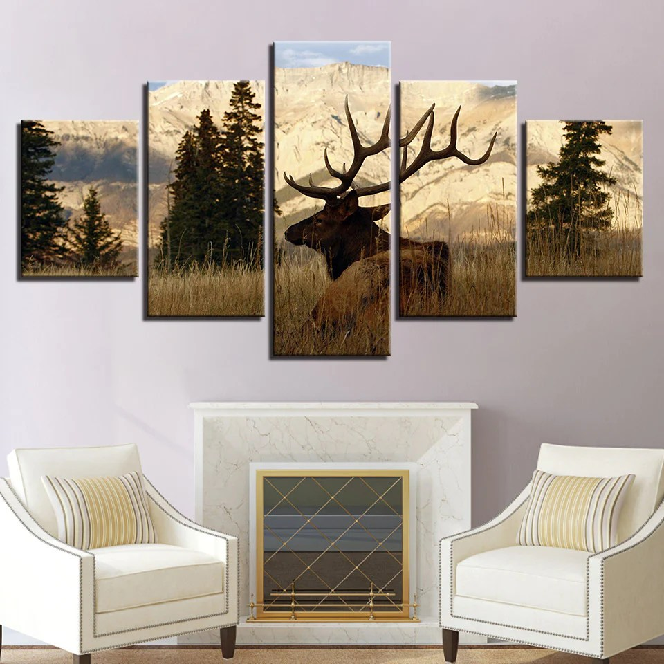 Wall Art Prints And Posters Canvas Pictures Wall Art Hd Prints Posters 5 Pieces Sunny Mountain Trees Animal Deer Paintings