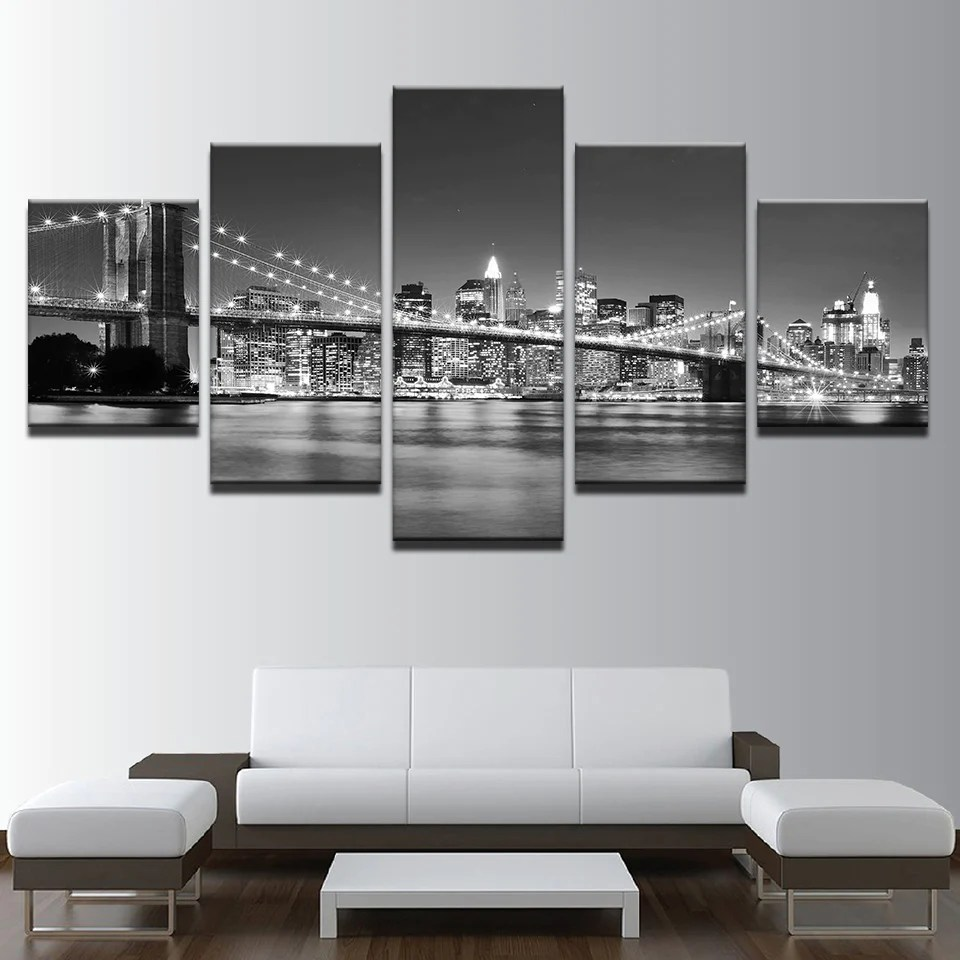 Black And White Canvas Pictures Canvas Hd Prints Pictures 5 Pieces Black White Brooklyn Bridge City Night View Paintings Home Wall