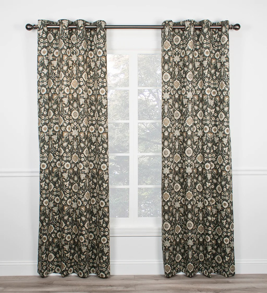 105 Inch Curtains Adelle Medallion Print Grommet Panels Window Curtains Pair