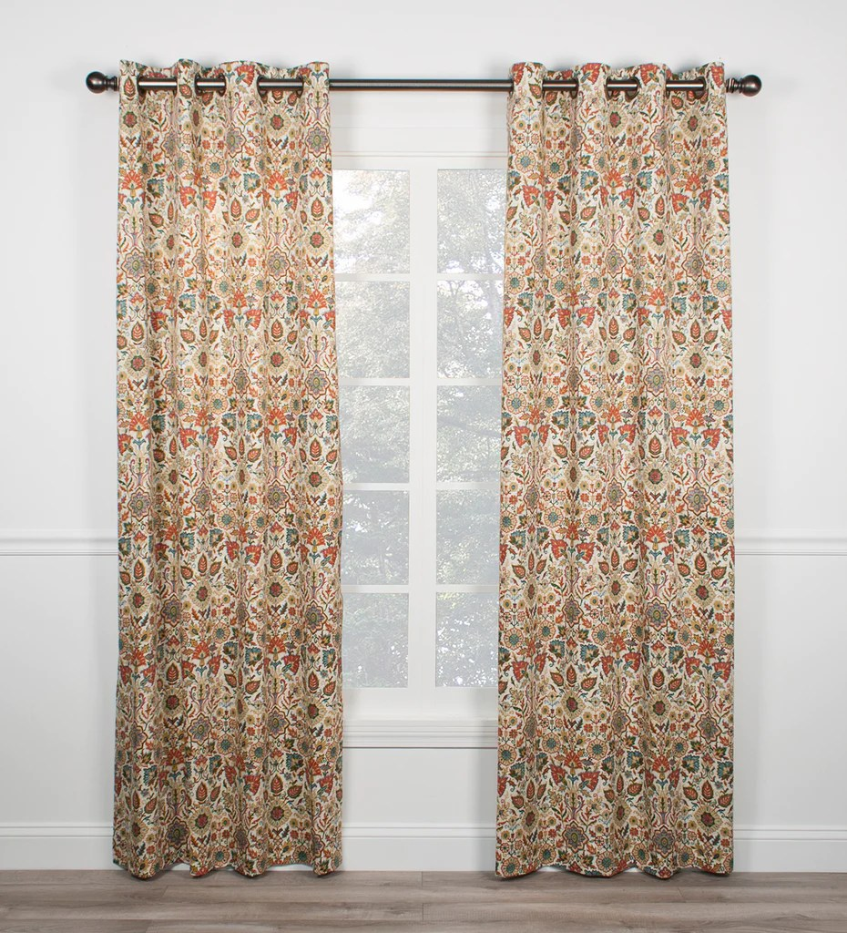105 Inch Curtains Adelle Medallion Print Grommet Panels Window Curtains Pair Window Toppers