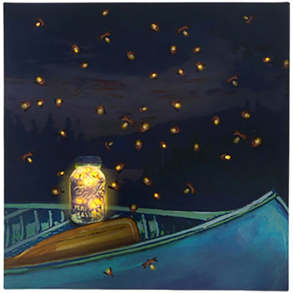 Firefly Jar Art Raz Imports Lighted Canvas Wall Art Boat Trip To Release Fireflies