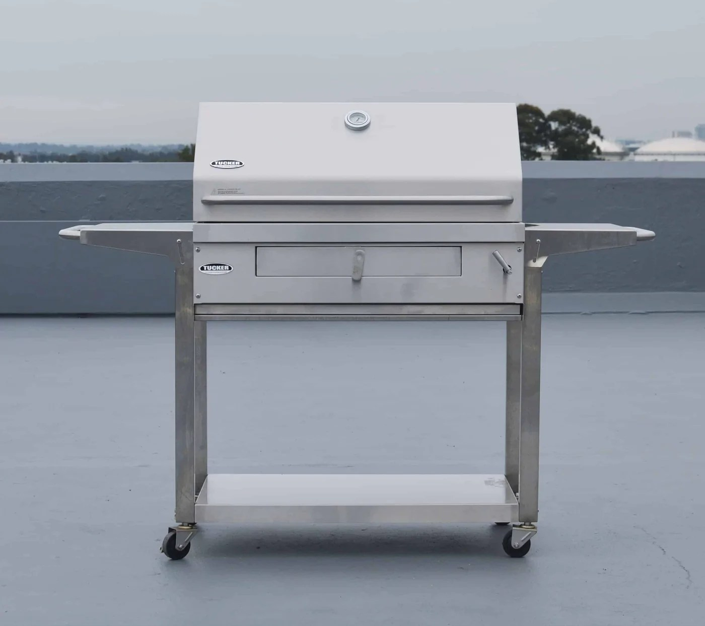 Charcoal Bbq Tucker Charcoal Deluxe With Shelf Stand Trolley