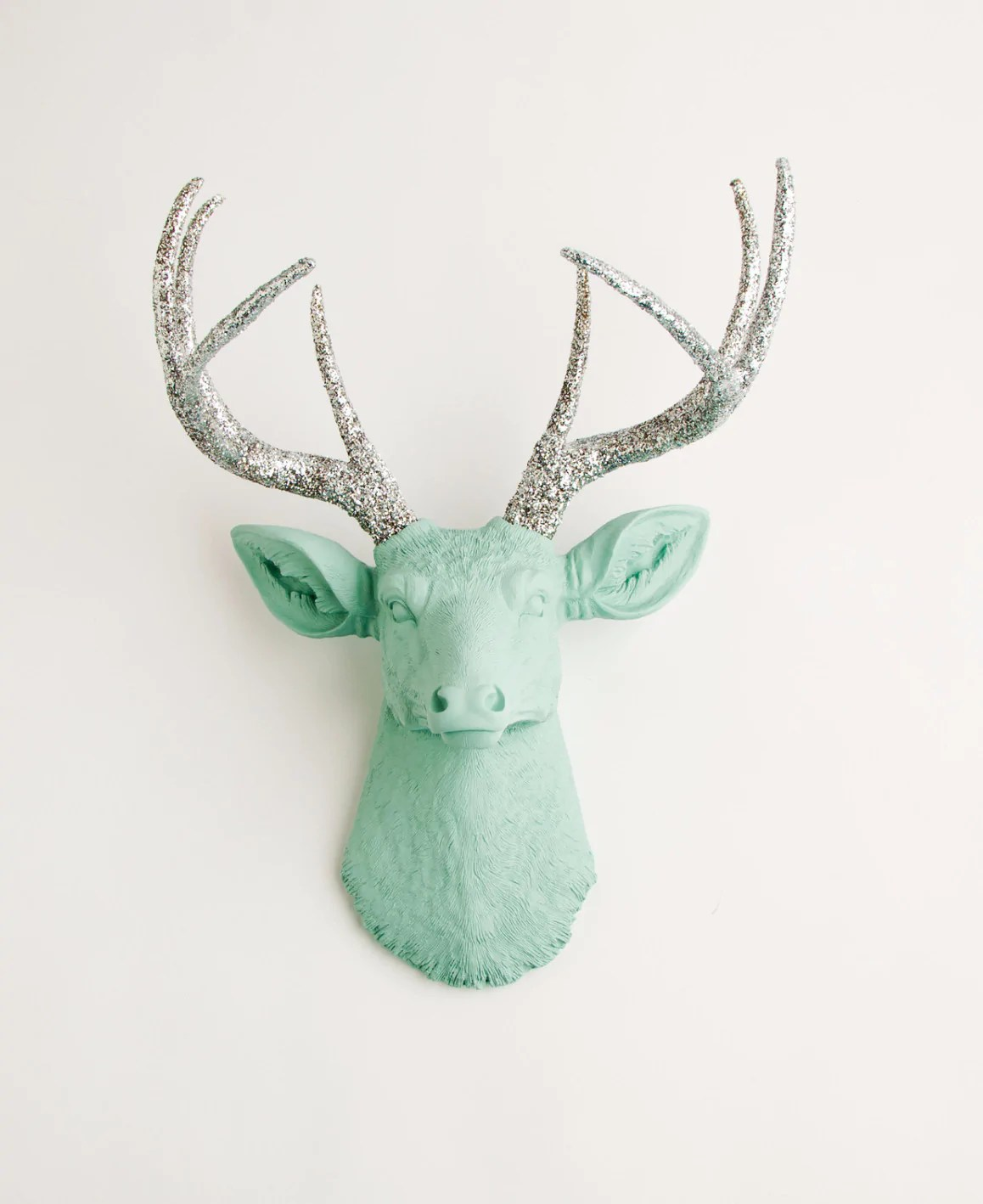 White Porcelain Deer Head Seafoam Green Faux Deer Head Wall Mount W Silver Glitter