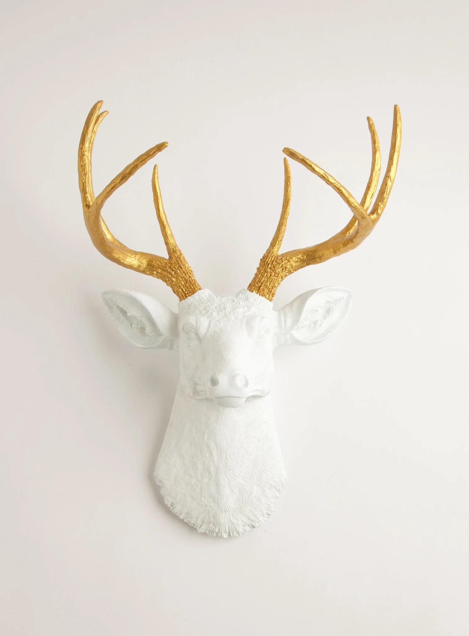 Fake Taxidermy Deer Head Gold Antlers And White Deer Head Wall Mount The Alfred