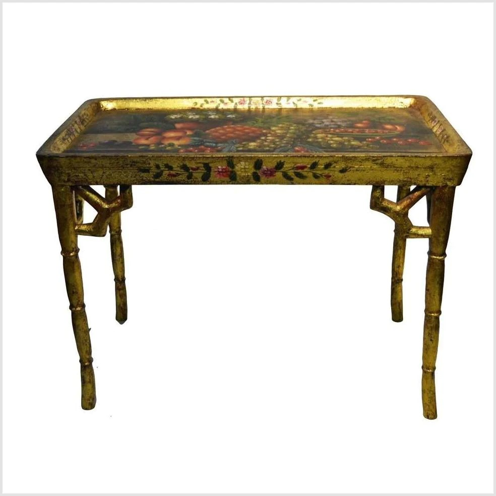 Hand Painted Gilt Ornate Table Fea Home