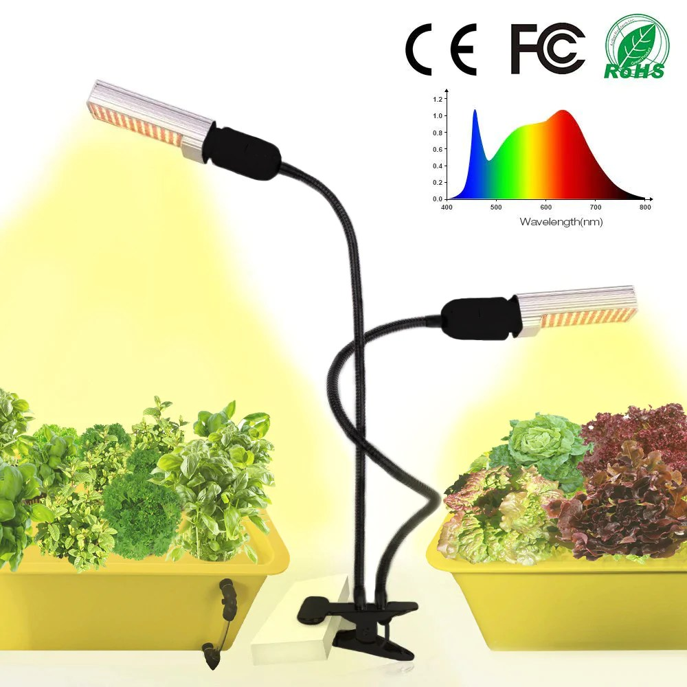 Lamp Plant 50w Led Grow Light For Indoor Plants Full Spectrum Plant Lights Lamp With Dual Head Gooseneck