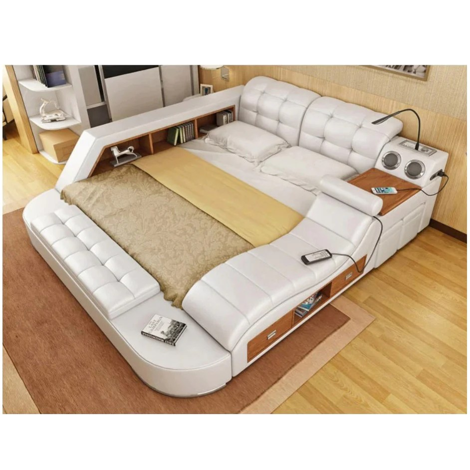 Leather Bed Frame Bedroom Furniture Real Genuine Leather Bed Frame Modern Soft Beds Home