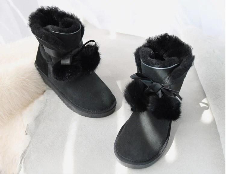 Gzaco Luxury Brand Sheepskin Boots Sweet Bow Fox Ball