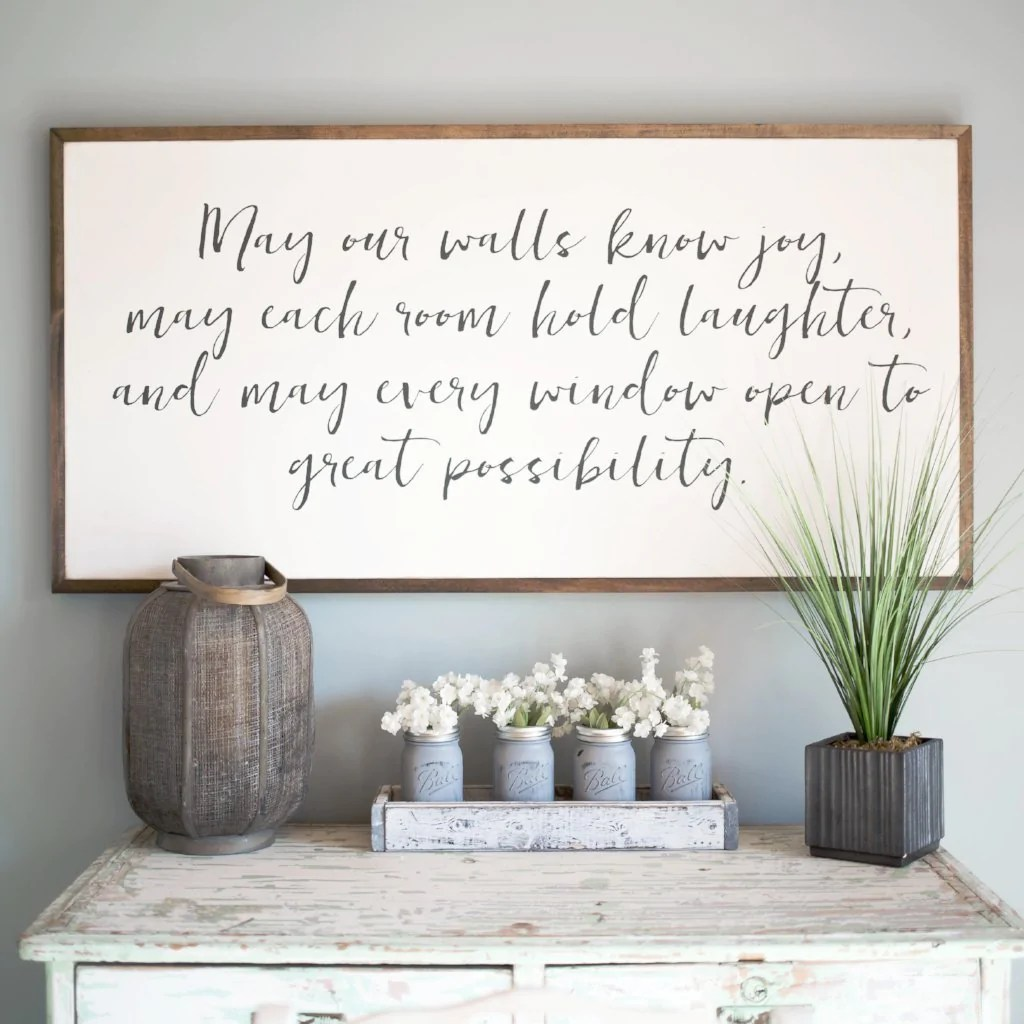 Home Decor Yellow Walls May Our Walls Know Joy 4 39x2 39 Wood Sign Home Decor