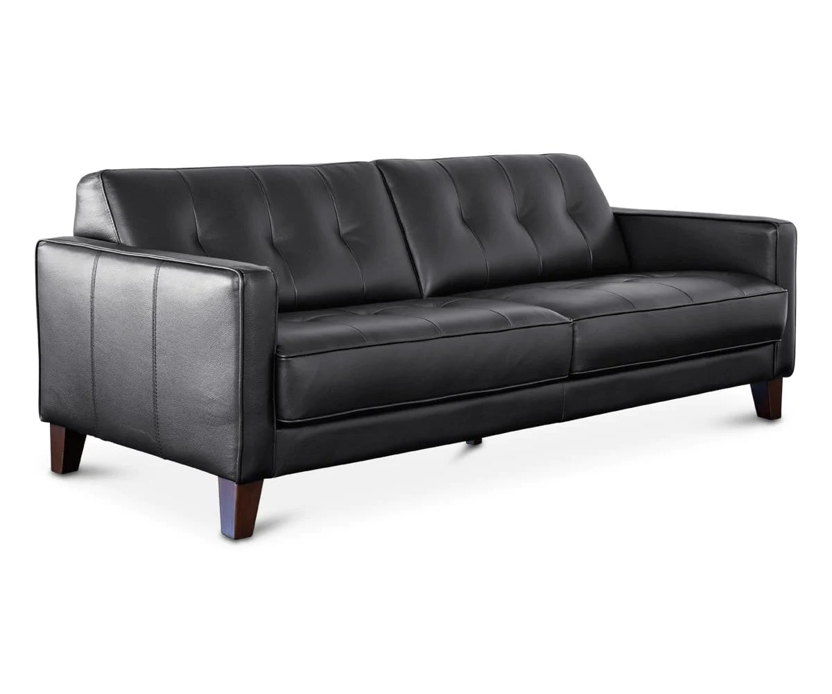 Gregata Leather Sofa Black Scandinavian Designs