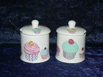 Set Of 2 Bone China Cupcake Preserve Jars Spoons Gift