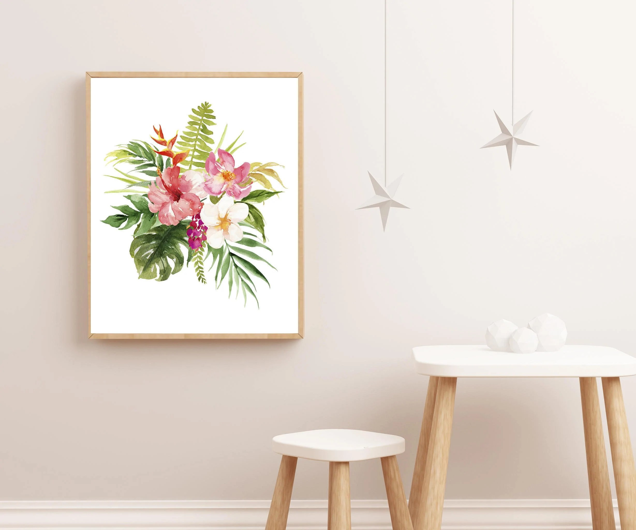 Nursery Prints Girl Baby Girl Nursery Art Girl Nursery Art Tropical Nursery Print Watercolor Flower Prints Floral Nursery Art Baby Girl Print Pink Nursery