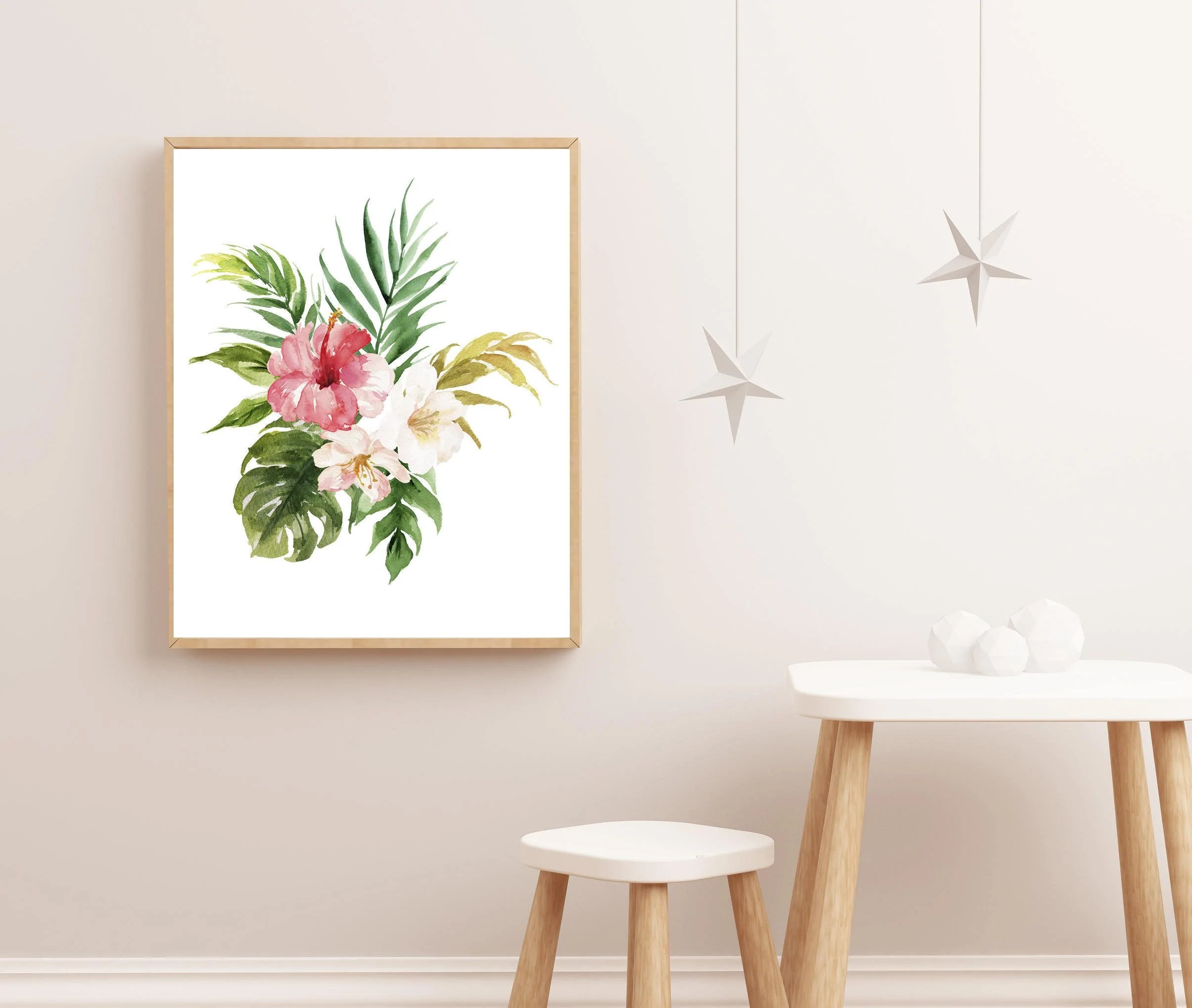Nursery Prints Girl Girl Nursery Art Tropical Nursery Print Baby Girl Nursery Art Floral Nursery Art Watercolor Print Nursery Decor For Girl Pink Nursery