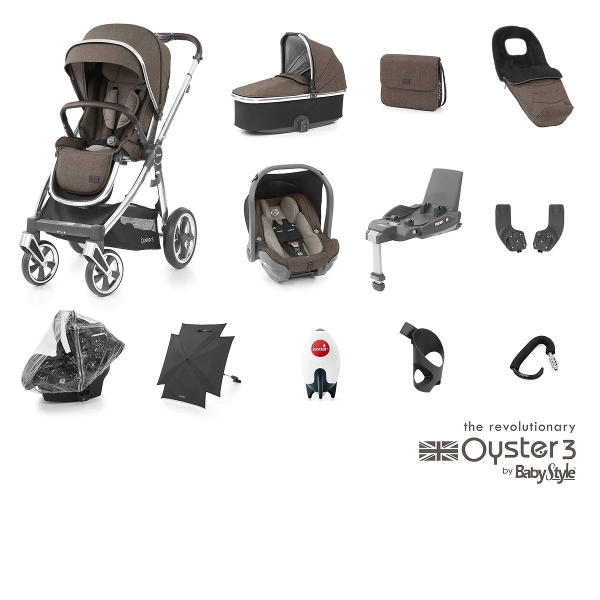 Bugaboo Stroller Us Babystyle Oyster 3 Ultimate Bundle Truffle Pushchair