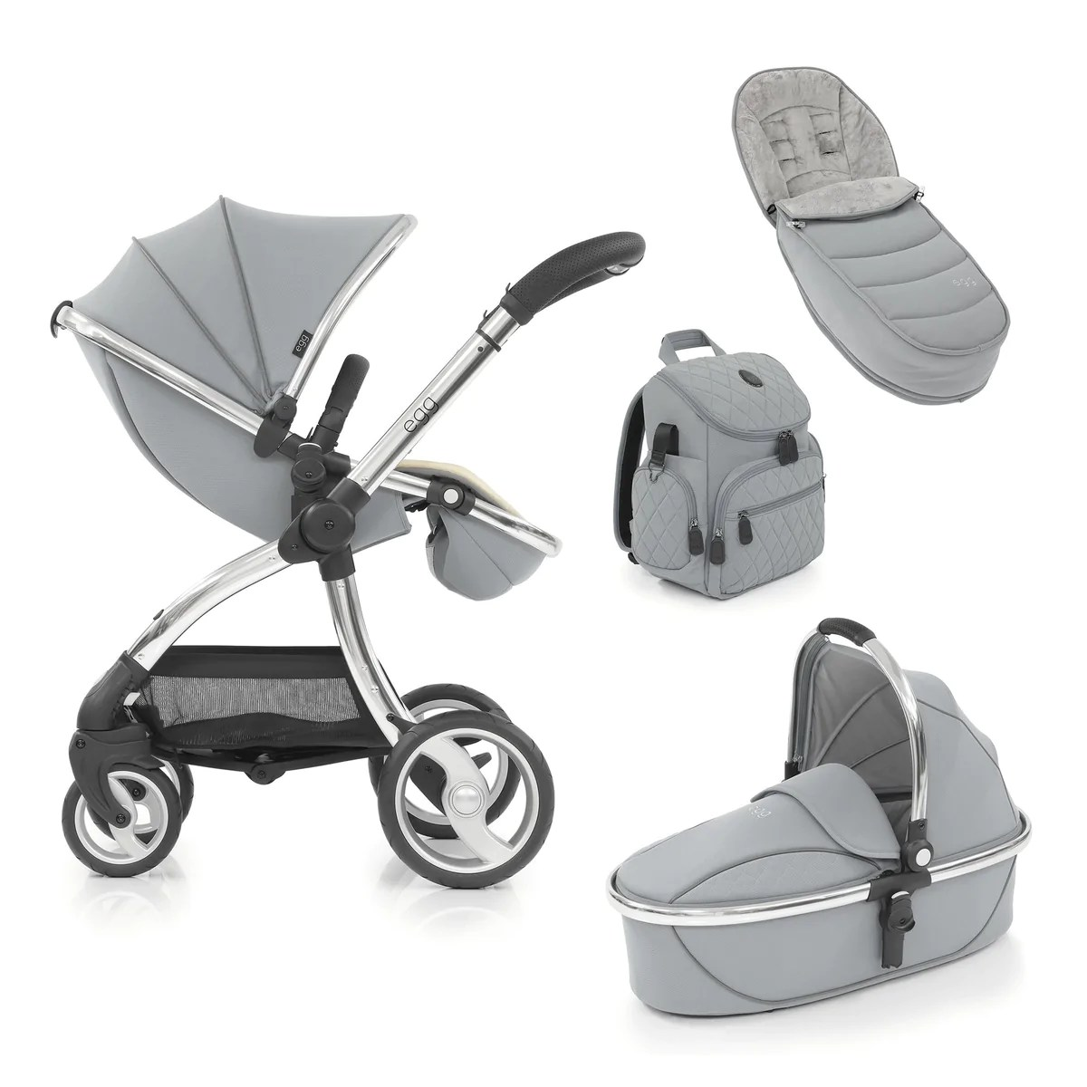 Egg Pram Replacement Wheels Egg Stroller 4 Piece Bundle Frosted Steel