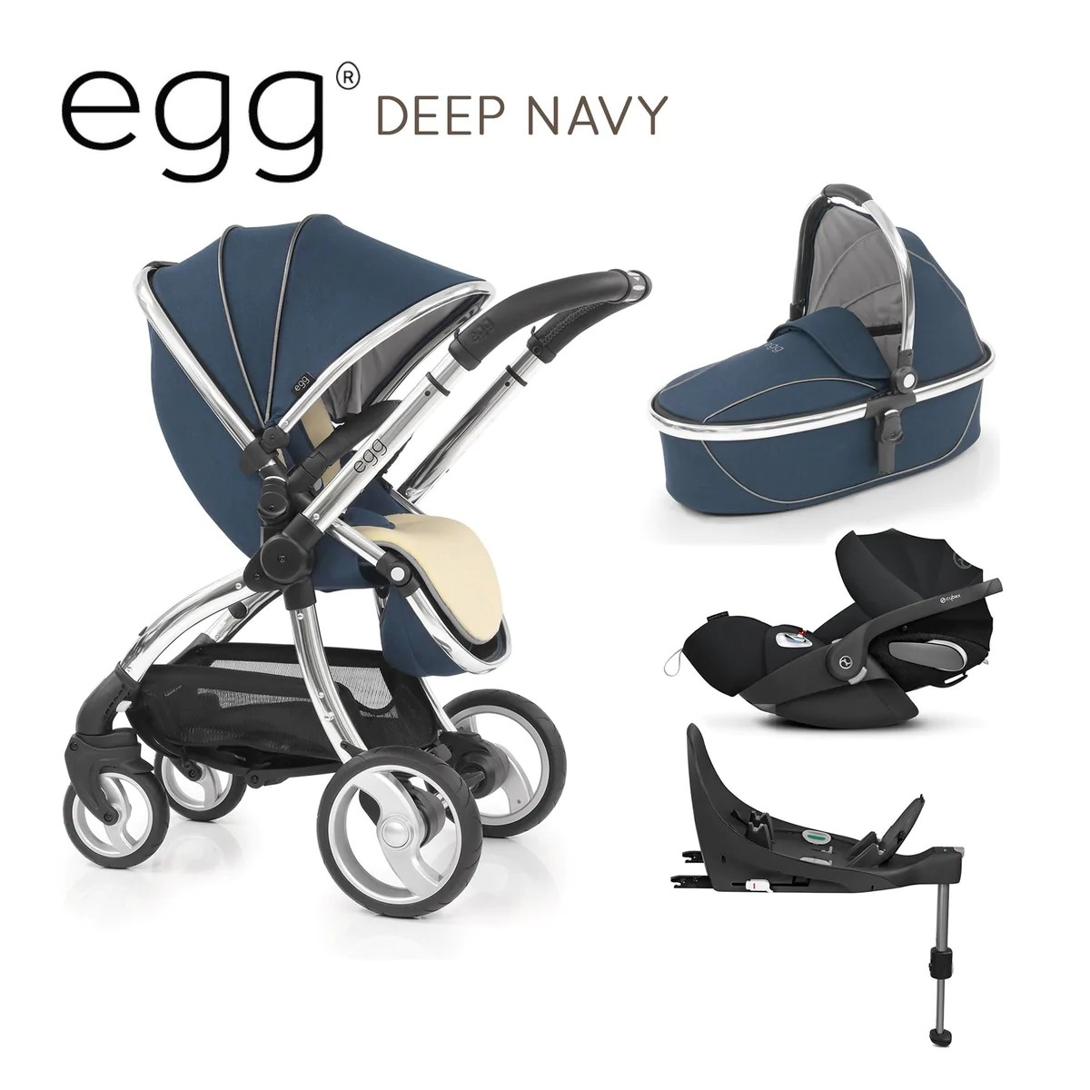 Egg Pram Replacement Wheels Egg Stroller Deep Navy With Cybex Cloud Z And Base