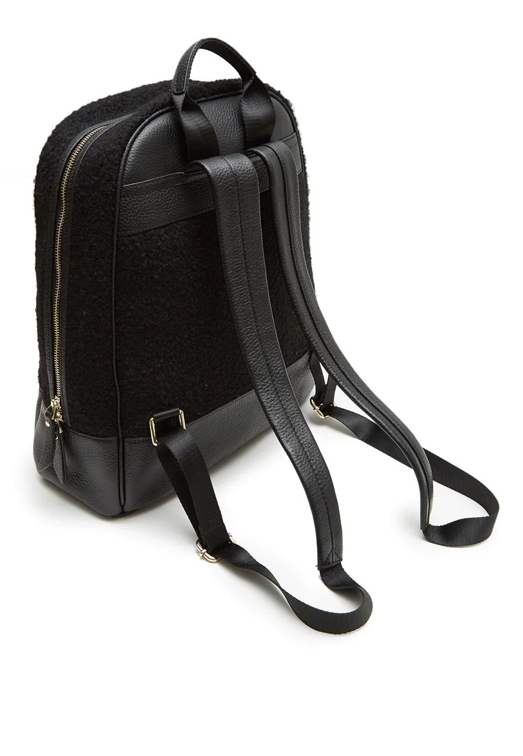 Laptop Orten Grayson Leather Felt Backpack Black Grey By Ortenhill