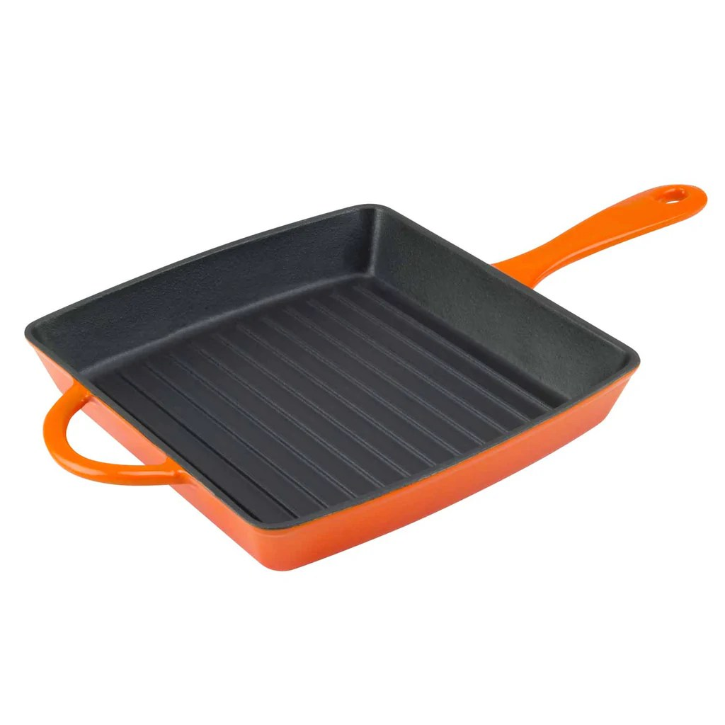 Grill Frying Pan 10 Inch Enameled Cast Iron Square Grill Pan