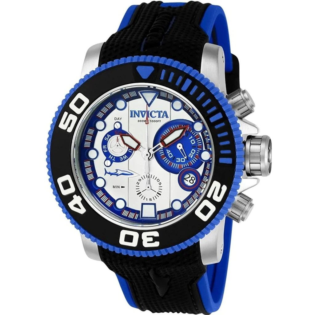 Blue Model Invicta Men S Sea Hunter Quartz Stainless Steel And Silicone Casual Watch Color Blue Model 22126
