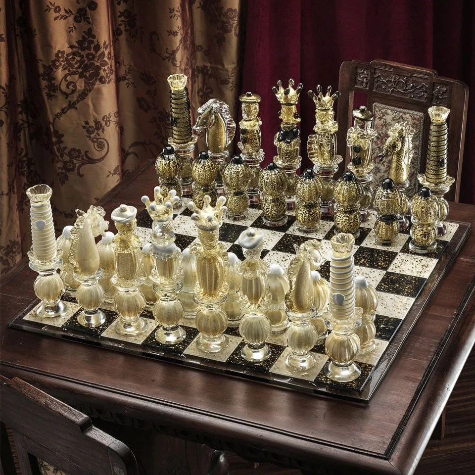 Gold Chess Pieces Murano Glass Chess Set Infused With Real Gold Venetian Glass