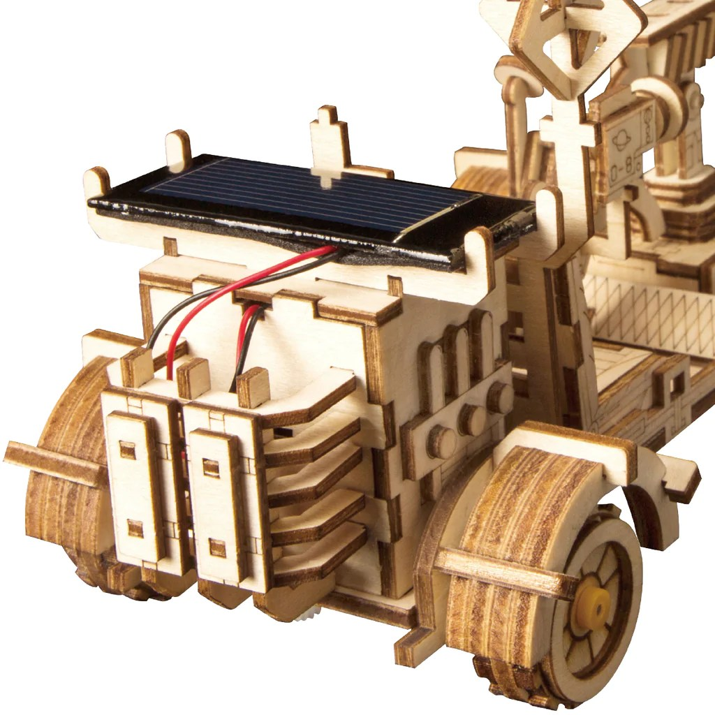 Moon Buggy Diy 3d Wooden Puzzle Movement Assembled Solar Energy Powered