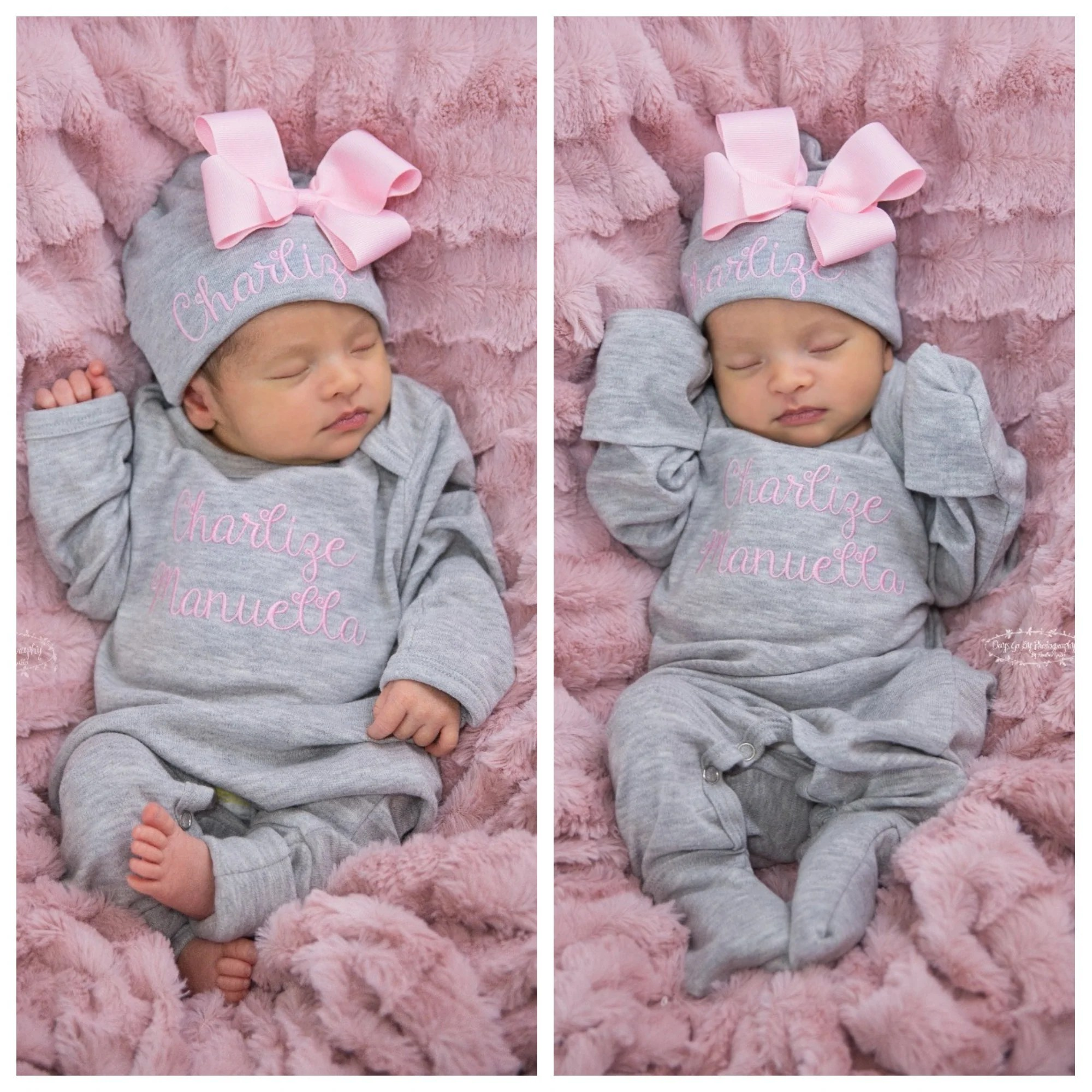 Newborn Infant Outfits Pink And Gray Newborn Baby Girl Coming Home Outfit With Bows