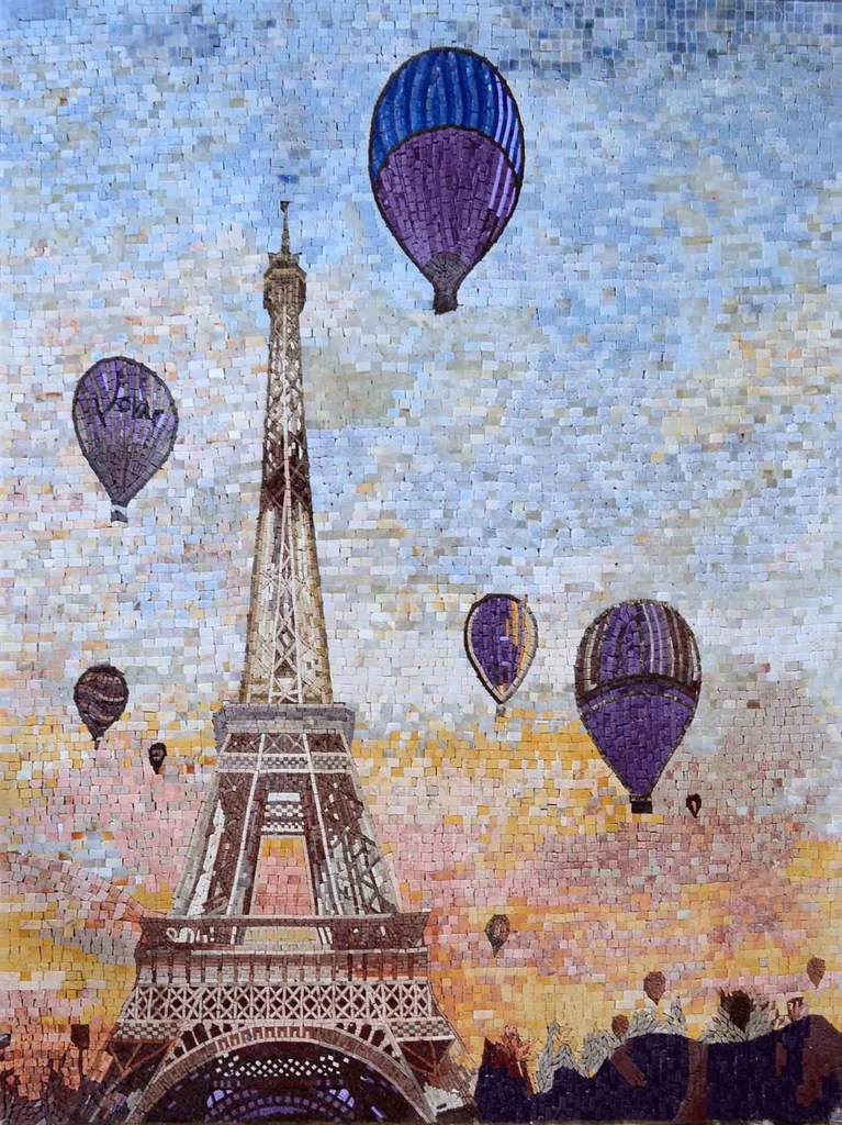 Houzz Kitchen Designs Eiffel Tower And Hot Air Balloons Mosaic Art | Scenery