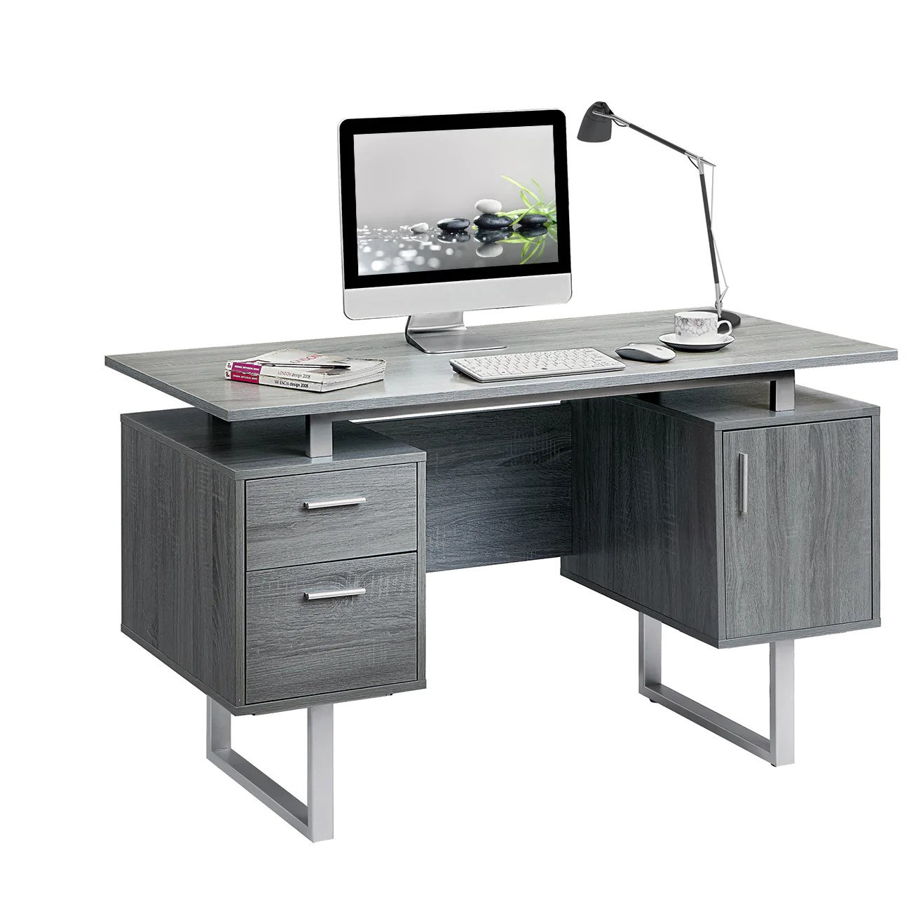 White Office Desk Complete Workstation Computer Desk With Storage