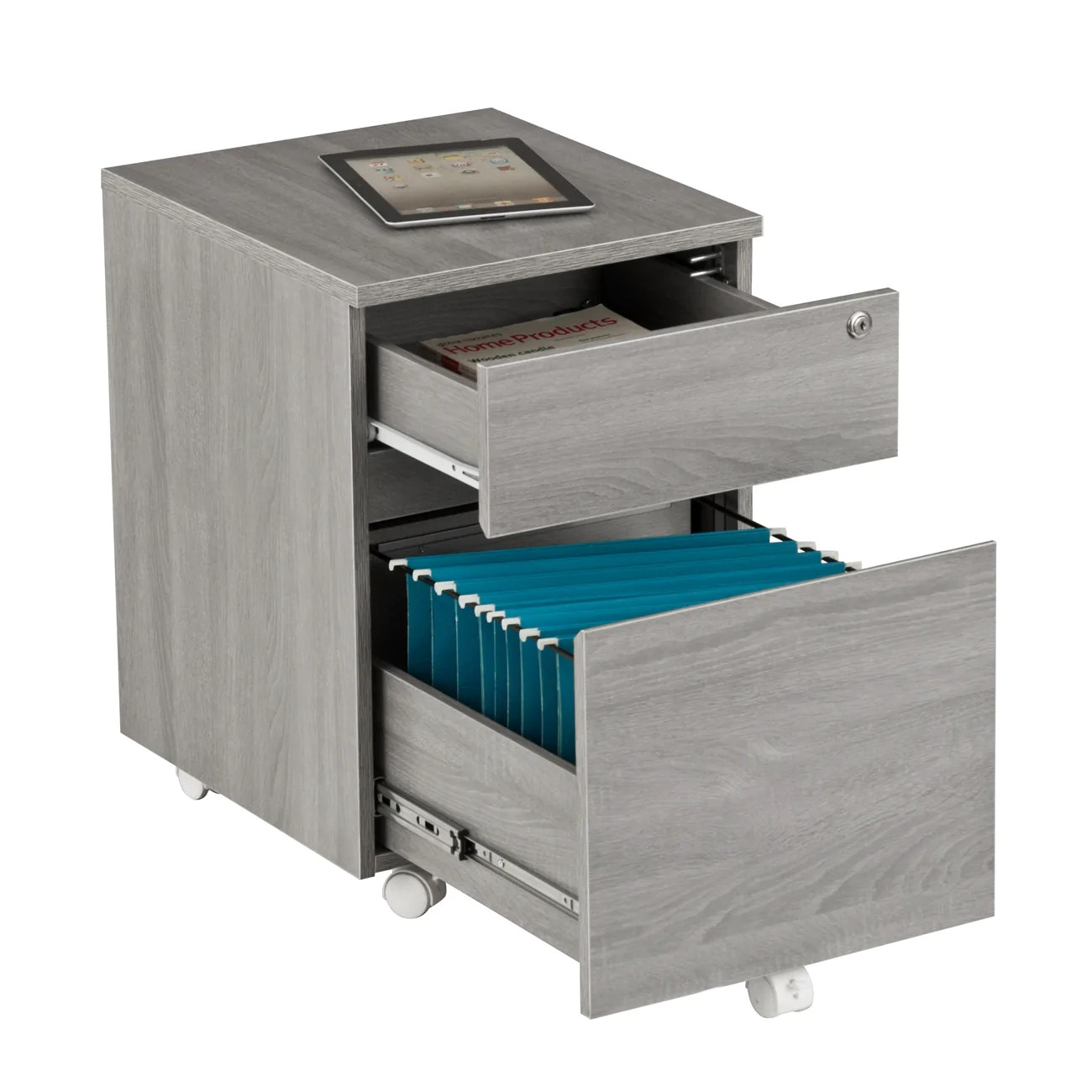 Rolling Filing Cabinets Rolling Two Drawer Vertical Filing Cabinet With Lock And Storage Grey