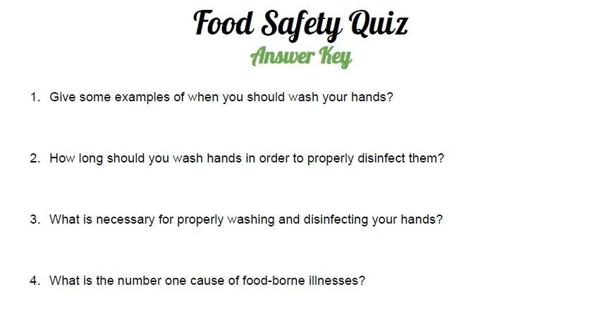 food safety quiz - Towerssconstruction