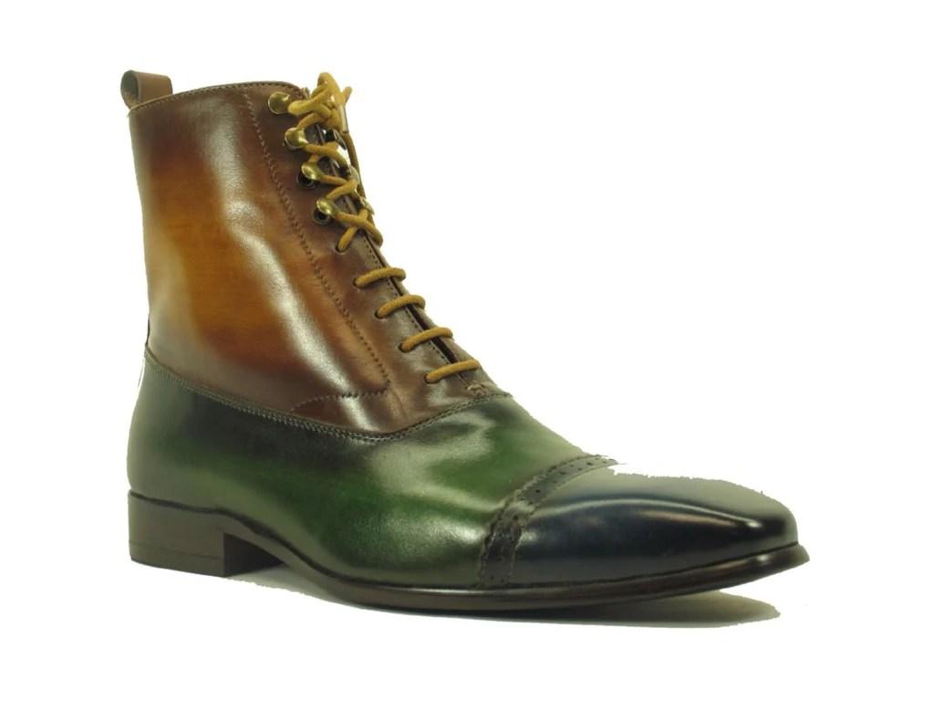 Kb524 13 Lace Up Zip Boots Navy Olive Cognac Carrucci Shoes