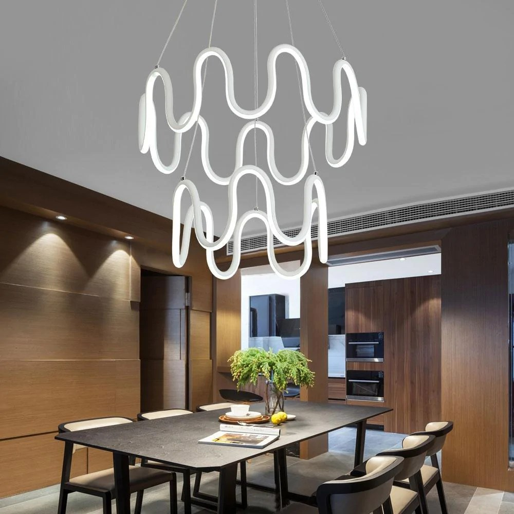 Led Chandelier Buy Minimalistic Home Lighting Fixture Symmetrical Curves Modern Led Chandelier With Remote Control At Lifeix Design For Only 299 99