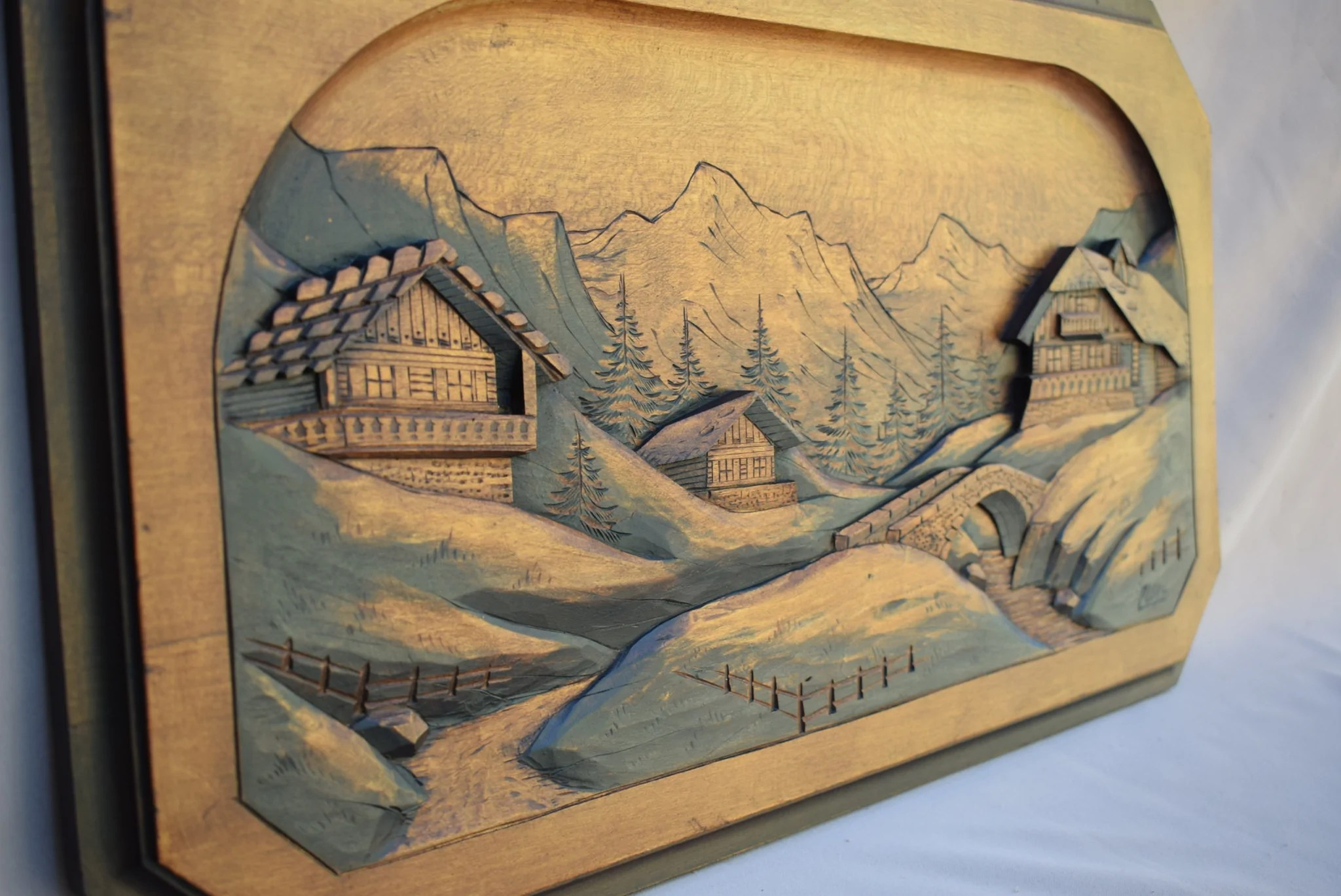 Chalet Leal Mountain Carved Panel