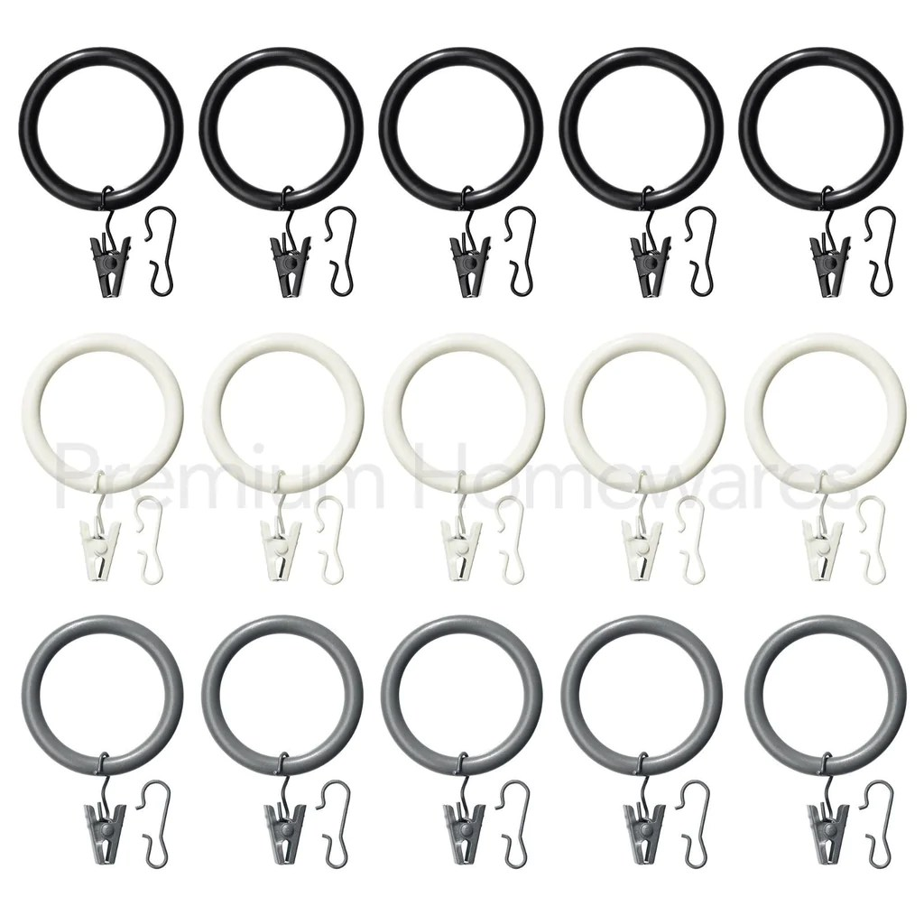 Curtain Rings Ikea 10 X Ikea Syrlig Curtain Rings With Clips Hooks 38mm Black