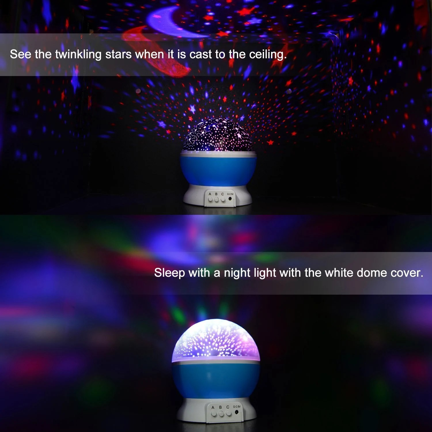 Night Light With Stars On Ceiling 360 Rotating Baby Night Light Projector