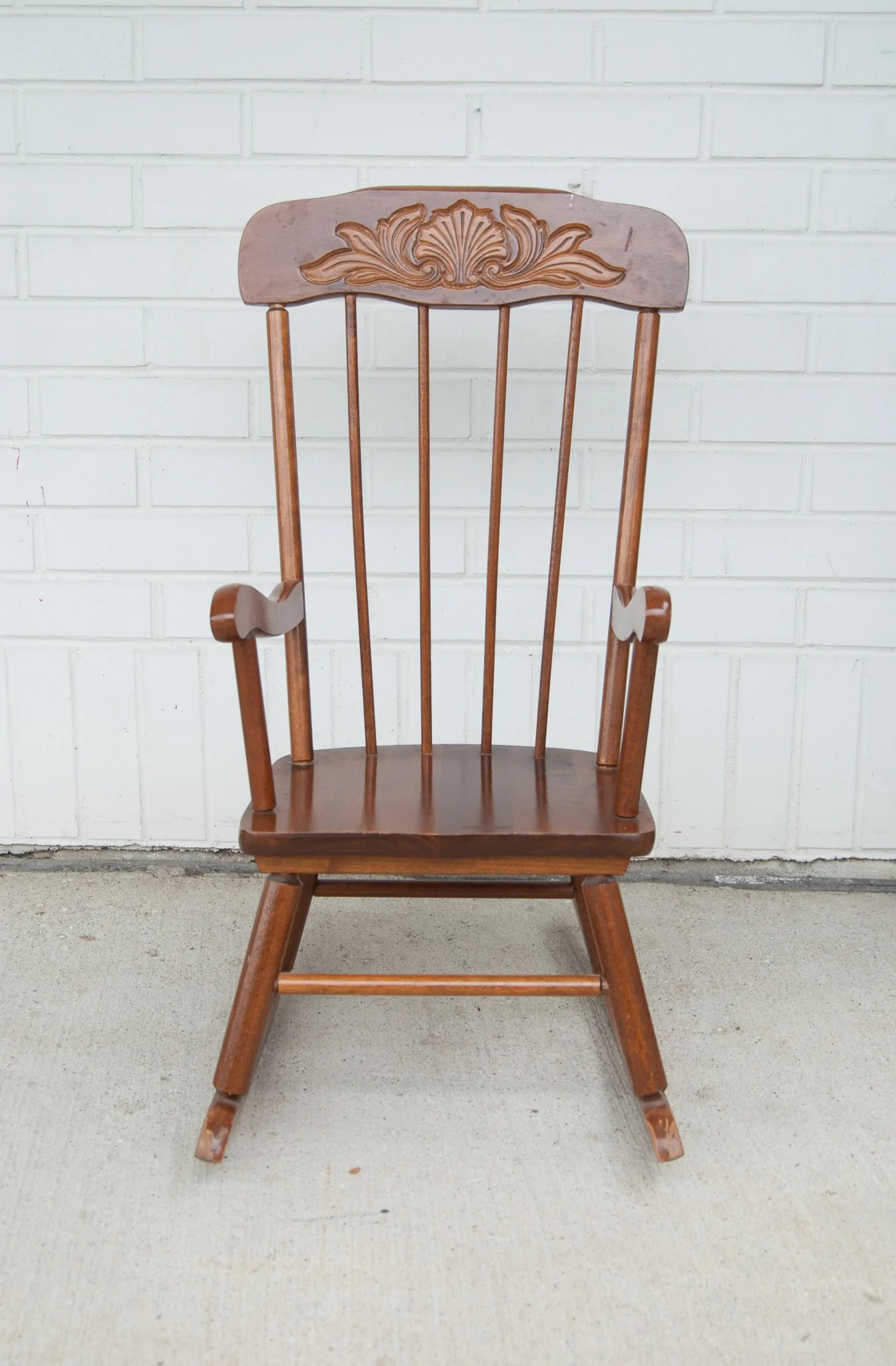 Wood Rocking Chair Child S Wooden Rocking Chair W Wood Carved Detail