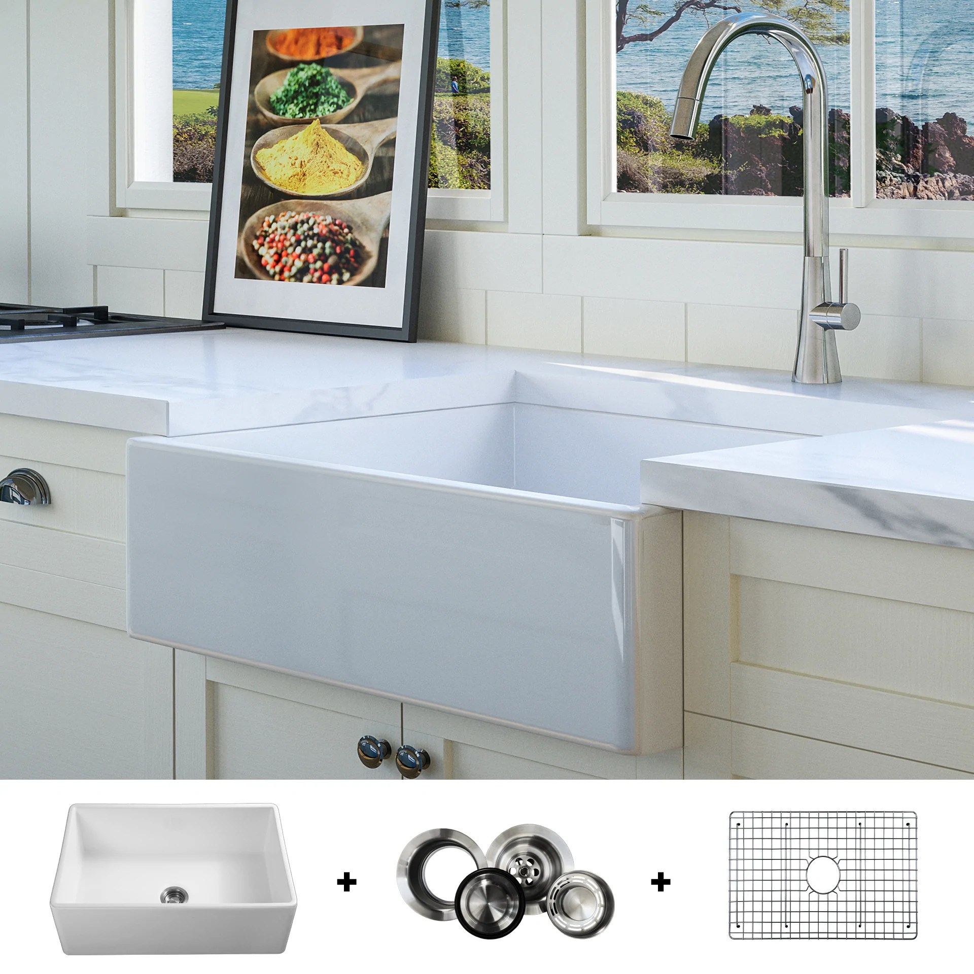 White Farmhouse Sinks For Sale Fsw1000 Luxury 26 Inch Pure Fireclay Modern Farmhouse Sink In White Single Bowl Free Grid