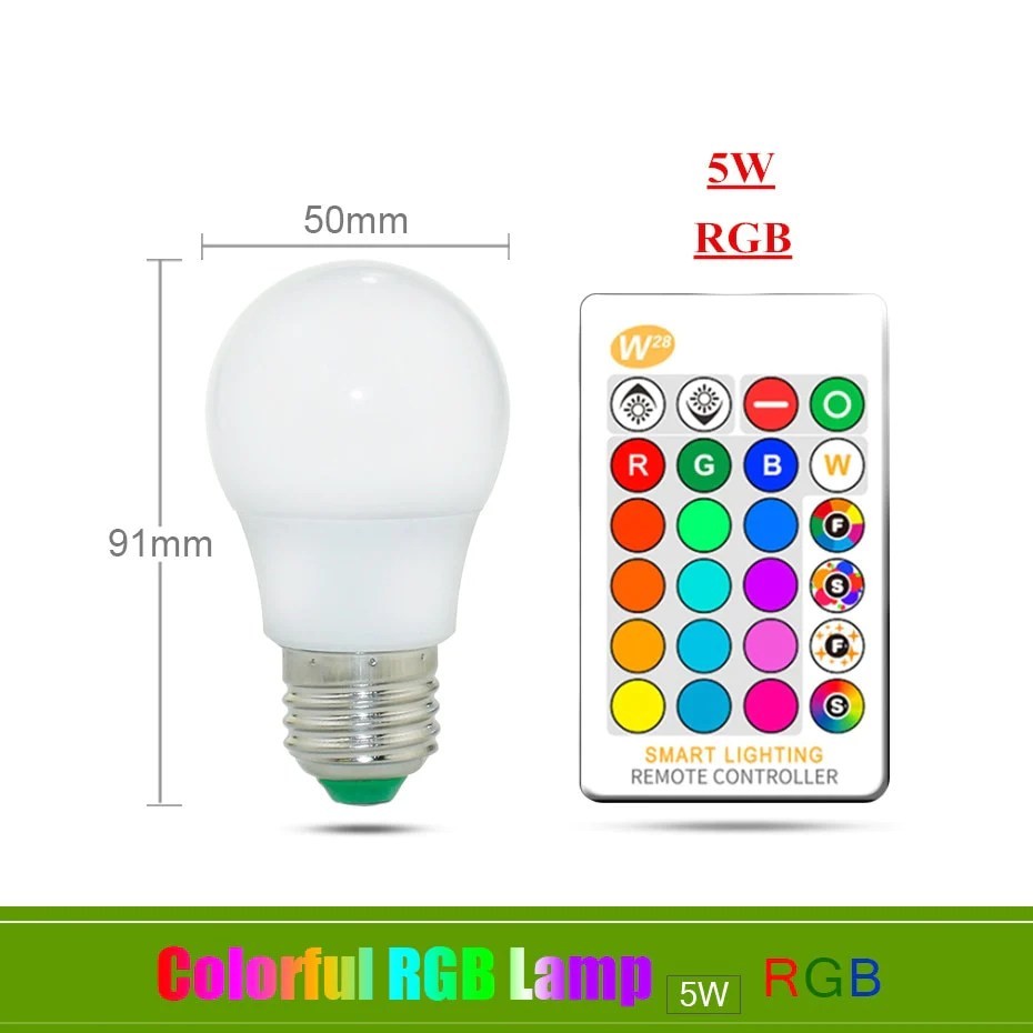 Led 220v 110v 220v E27 Rgb Led Bulb Lights 5w 10w 15w Rgb Lampada Changeable Colorful Rgbw Led Lamp