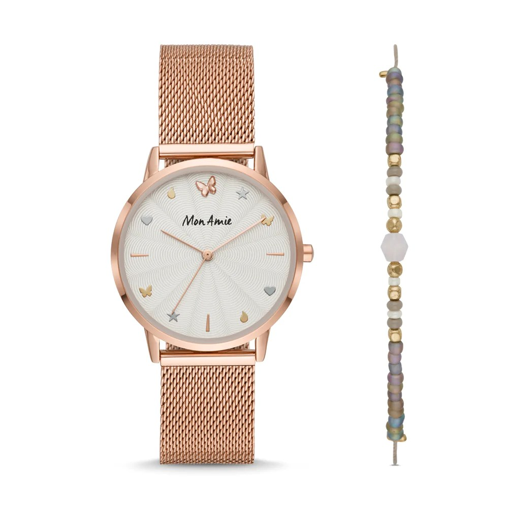 Steel Watch Mon Amie Iconic Opportunity Rose Gold Tone Stainless Steel Watch And Bracelet Set