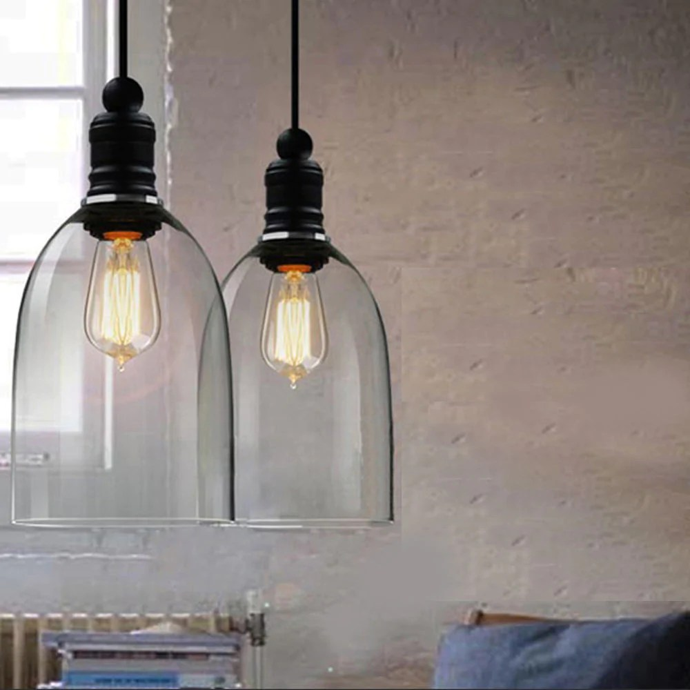 Glass Lamp Ceiling Industrial Modern Rustic Bell Shape Pendant Lamp Ceiling Light Fixture
