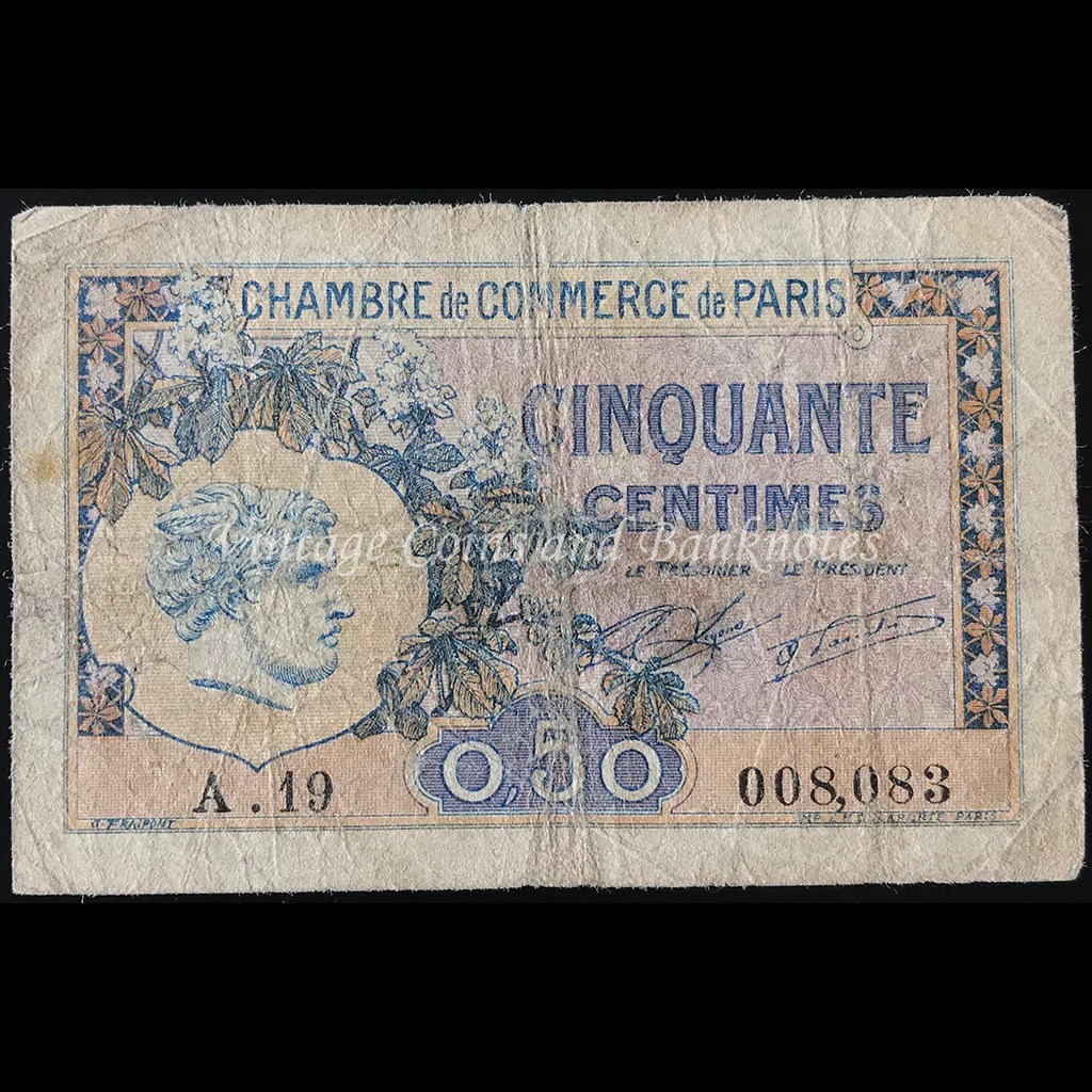 Chambre De Commerce Paris France 1922 50 Centimes Chambre De Commerce De Paris