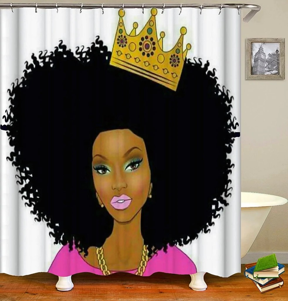 Black Queen Shower Curtain 91 Afrocentric Shower Curtain Afrocentric Fabric Shower Curtain