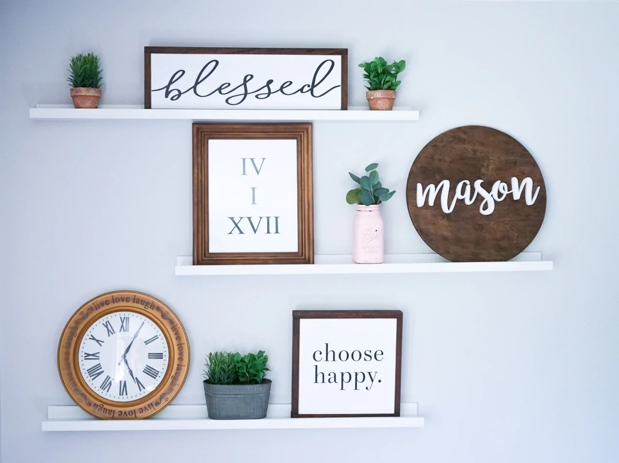 How to Decorate Floating Shelves | Women's Boutique | Meg & Marie – Meg & Marie LLC