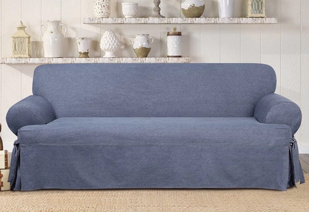Sofa Restposten Authentic Denim One Piece Sofa Slipcover | Slipcovers For